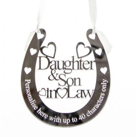 Personalised Silver Mirror Acrylic Wedding Daughter & Son In Law Horseshoe DS1